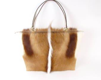 Springbok Tote ~ Genuine Fur Tote ~ Springbok Fur Handbag ~ Brown Fur Bag ~ Plush Fur Tote ~ Renewable Fur Handbag ~ Brown Leather Tote Bag