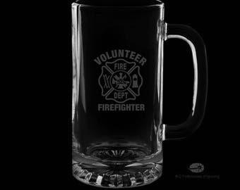 Volunteer Fire Department 16 Ounce Personalized Beer Mug