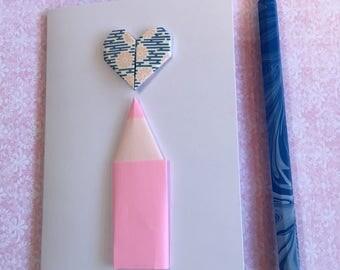 Origami greeting card - pencil and heart (light pink and blue)