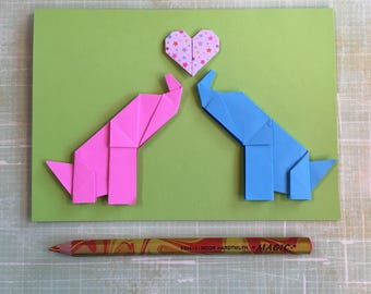 Origami large greeting card - two elephants with heart (pink and blue)