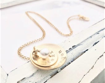 Gold Filled Personalized Necklace . Hand Stamped Necklace . Brag About It Jewelry . Double Cup of Love . Pearl