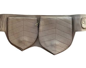 Leather Utility Belt   Brown Double Leaf, 3 Pocket   travel, cosplay, festival   Fits iPhone