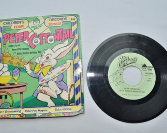 Vintage Lot of 3 Children's Records 1970s 7 inch Peter Cottontail Tubby the Tuba Songs About Counting