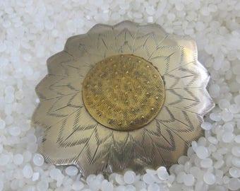 wonderful vintage barrette, Mexican silver , sunflower, flower