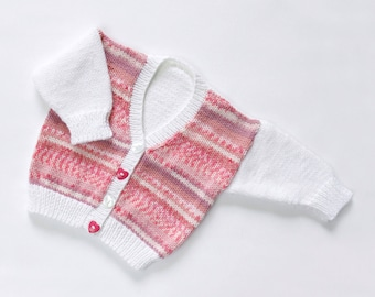 "Baby Girls ""Cotton Candy"" Cardigan. Hand Knit Baby Cardigan. Hand Knit Childrenswear."