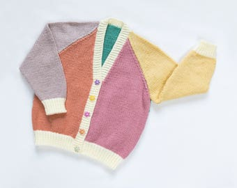 Little Girls Harlequin Cardigan Vintage Colours. Hand Knit Cardigan. Hand Knit Sweater. Hand Knit Childrenswear.