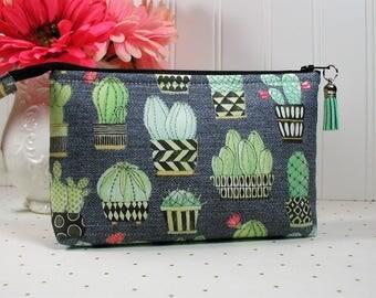 Cactus Pouch, Cactus Zipper Pouch, Cosmetic Pouch, Accessory Pouch, Planner Pouch..Cactus Hoedown in Black