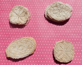 Antique Lace Vintage Lace Trim Filet Lace Circles 4 Sets