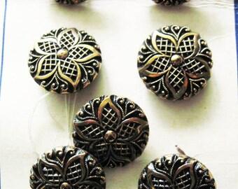 Vintage La Mode  Black Glass  Gold  Luster Buttons