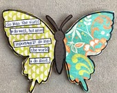 Go do good butterfly mixed media collage art by Things With Wings