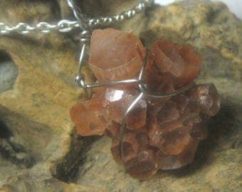 Aragonite crystal necklace pendant - Stainless steel silver wire wrap - genuine natural stone starburst cluster sputnik cylinder specimen J3