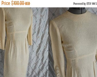 "ON SALE 50s 60s Dress //  Vintage 1950's 1960's Ivory Palest Yellow Silk Linen Wiggle Dress by Safian Size S 25"" waist"
