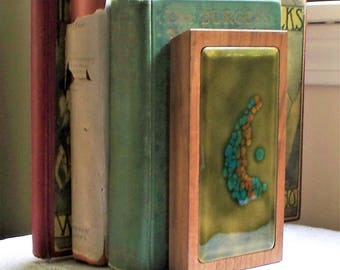 Mid Century Bovano Enamel Bookends - Abstract, Enamel, Walnut, Desk, Bovano, Signed, Book Ends, Office