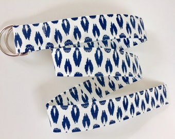 D Ring Belt, women's belt,  navy and white  s/m, ready to shiop