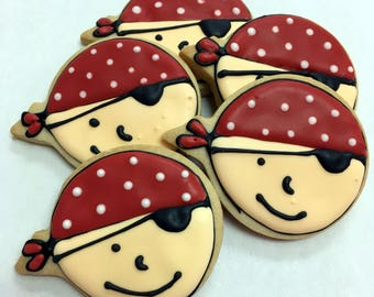 PIRATE COOKIES, 12 Decorated Sugar Cookie Party Favors
