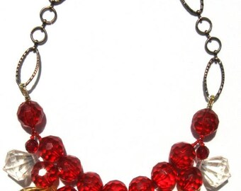 CLEARANCE Fun Red amber clear acrylic handmade statement necklace