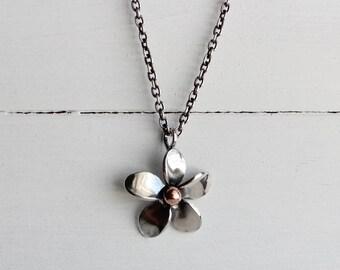 Sterling silver Plumeria pendant, handmade, hawaiian jewelry, original design by Hapa Girls, Beach jewelry, Frangipani