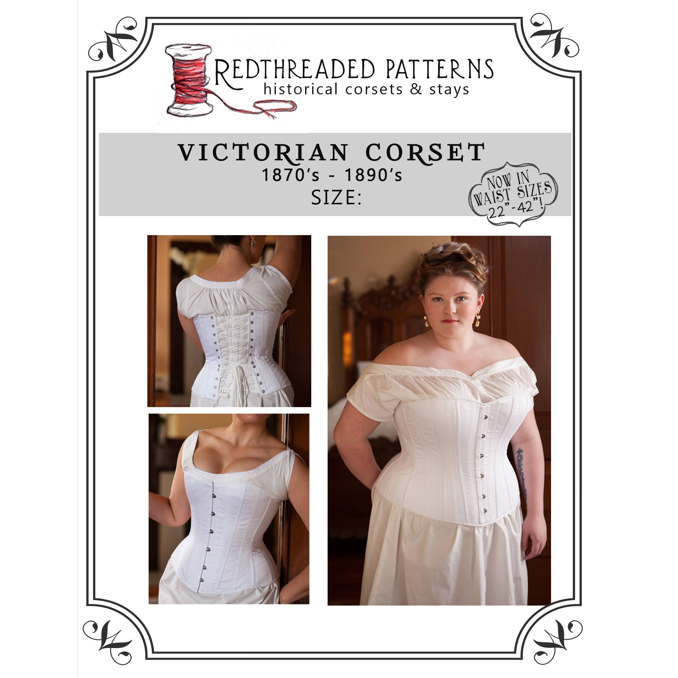 Victorian Overbust Corset Pattern Paper Sewing Pattern