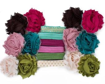 Demeter : Autum DIY Headband Kit   6 or 12 Headbands   Chiffon Flower FOE Fold Over Elastic   Princess Parties  Baby Showers Pink Olive Teal
