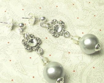 70% SALE Silver Glass Pearls with daisy charm on posts earrings, wedding pearls earrings, brides earrings