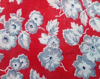 20% OFF Vintage Feedsack Fabric Seeing Red with Grey Flowers 42 x 38 #mm23