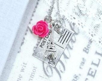 Postcard Necklace Paris Necklace I Love You Necklace Eiffel Tower Necklace Paris Jewelry Travel Necklace