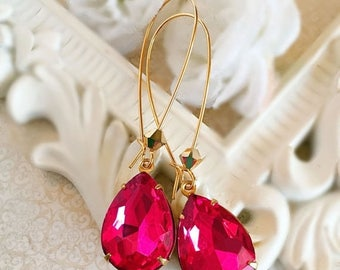 SALE 20% Off Prom Earrings - Pink - Crystal Earrings - Flirty - SOMERSET Berry