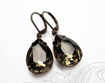 SALE 20% Off Crystal Earrings Grey Gray Rhinestone Jewelry Black Diamond Bridesmaid Gift CAMBRIDGE Black Diamond