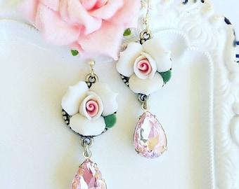 SALE 20% Off Wedding Earrings - White - Rose Earrings - Pink - Flower Earrings - WHITE ROSE