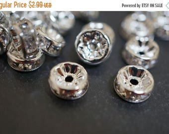 SUMMER SALE Silver Plated Rhinestone Rondelle Spacers (Straight Round) - 5mm - 20 pcs
