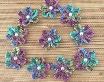 Crochet Flower Appliques, Star Flowers with Beads, Variegated thread - set of 10