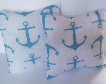 Nautical Pillow Covers, 18x18 Pillow Covers, Nautical, Decorative Pillows, Set of 2 Pillow Covers, Home and Living