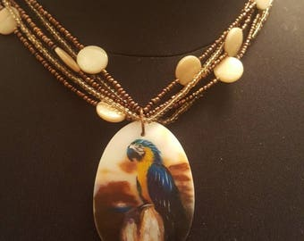 Macaw parrot porcelain chunky pendant necklace