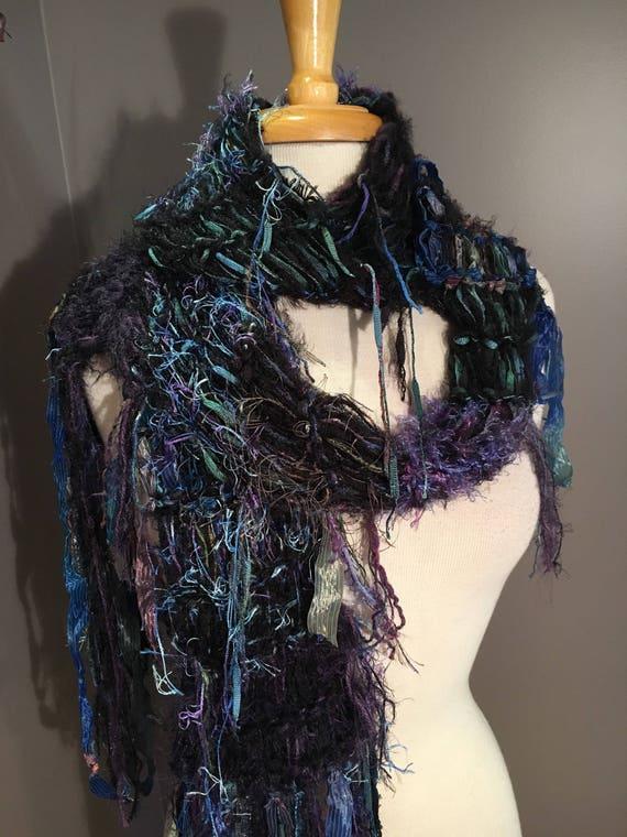 Shaggy Chic, 'Indigo' - Hand knit soft  Novelty Fiber Knit Scarf in Black Blue Aqua, boho scarf, fringe fashion, long scarves