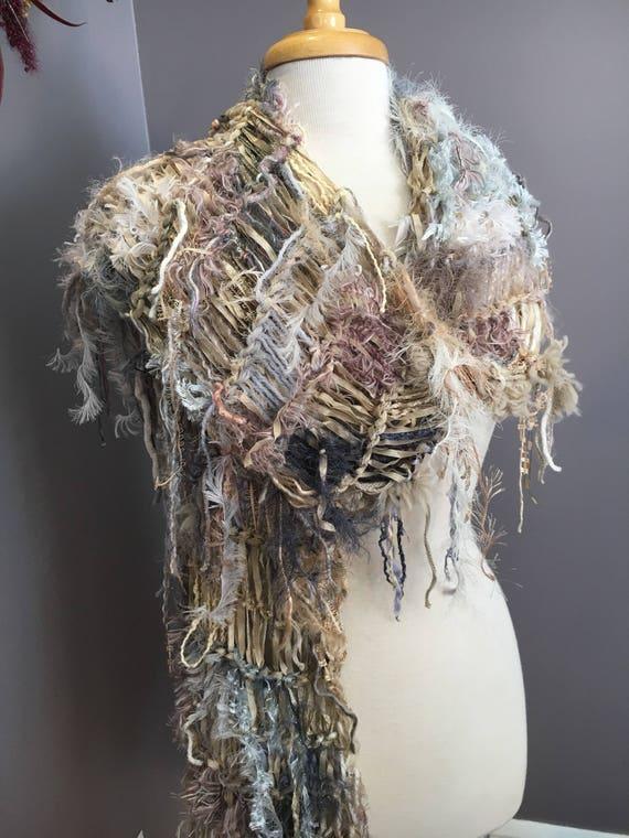 Fringed knit loghtweight artwear Shawl or Scarf, 'Ivory Coast', Dumpster Diva, Knit Fringed ivory tan grey wide Scarf, bohemian fashion