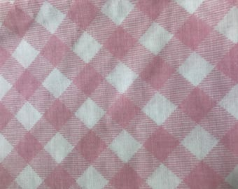 One yard of vintage sheet fabric. Pink and white