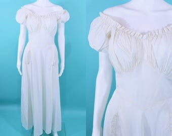 1930s evening dress | white gathered top off shoulder wedding gown | vintage 30s gown | W 27""