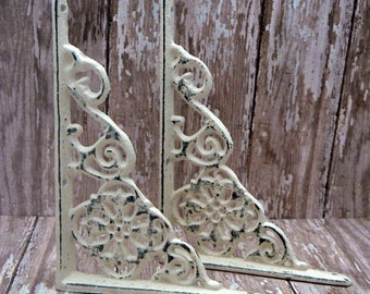 Shelf Bracket Cast Iron Floral Brace Shabby Chic Off White DIY Home Improvement