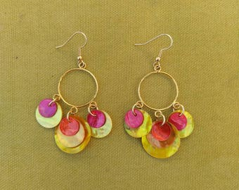 shell earring, circle tiered dangle- Red,orange and yellow