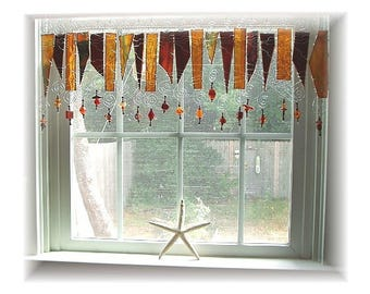 Jamoca Almond Fudge Number One Stained Glass Window Treatment Kitchen Valance Curtain