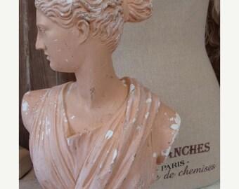 ON SALE Antique French Art Nouveau Statue Genuine Chalk Head Bust Sculpture