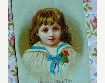 ONSALE Antique 1800s A Glad New Year To You Stunning Trade Lithograph Doll Like Trading Card Advertisement Holiday N039