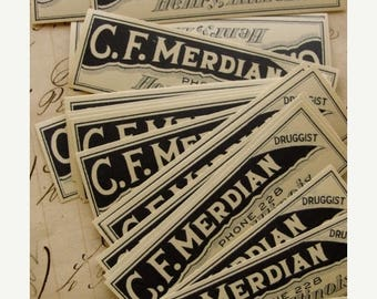 ONSALE Dozen 1930s Antique Medical  Pharmacy Labels