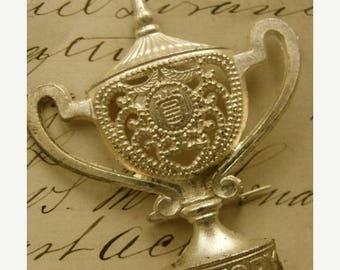 ONSALE Rare Vintage Engraved Metal Silvertone Art Deco Trophy Loving Cup Stunning Brooch