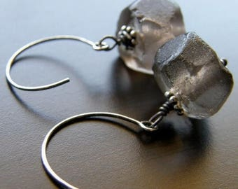 Summer Sale 20% Off Brown Recycled Glass Earrings, Eco Friendly Earrings - Night Sky