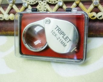 10x Magnifying Triplet Loupe w/ Case-Glass Magnifying Jewelry Loupe