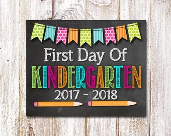 First Day Of Kindergarten Sign, Back To School Sign, First Day Of School Sign, Back To School Photo Prop, 8x10 Printable - Instant Download