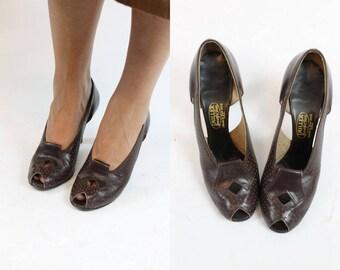 40s Shoes Peep Toe 6 / 1940s Vintage Cutout Shoes / I.Miller Pump