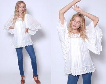 Vintage 70s White GAUZE Top ANGEL Sleeve Tunic CROCHET Cotton Top Boho Tunic Hippie Top