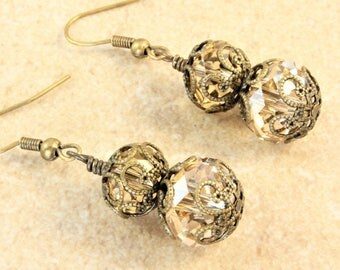Swarovski Golden Shadow Crystal Earrings Antique Gold Bead Caps  Antique Gold Ear Wire